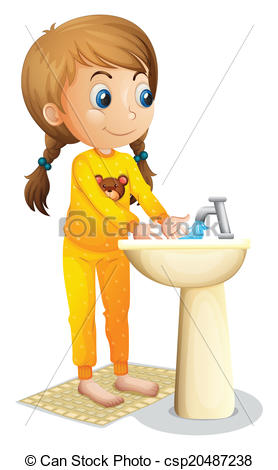 Vectors of A cute young girl washing her hands.