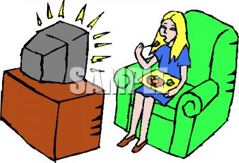 Girl Watching Tv Clipart.