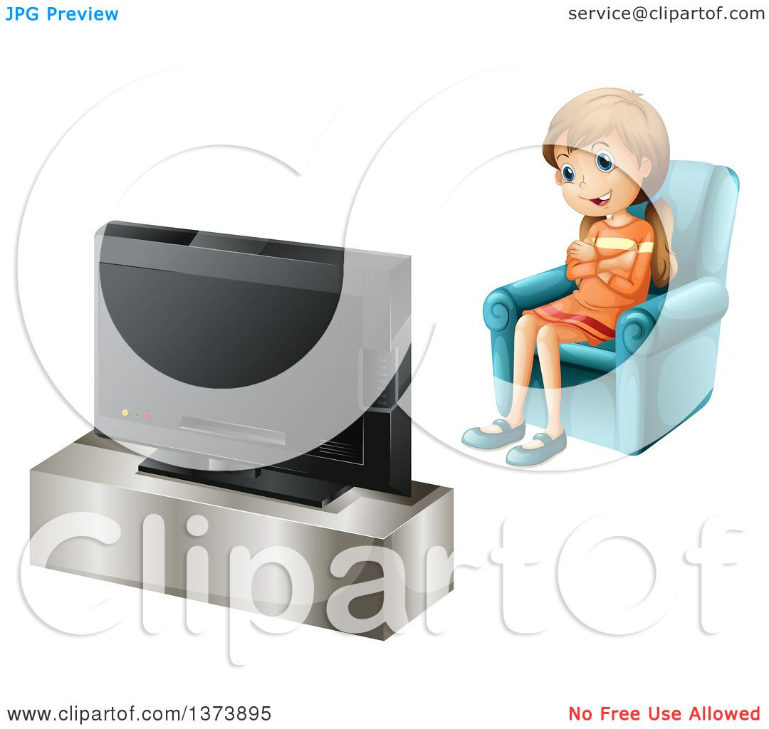 Clipart of a White Girl Watching Tv.