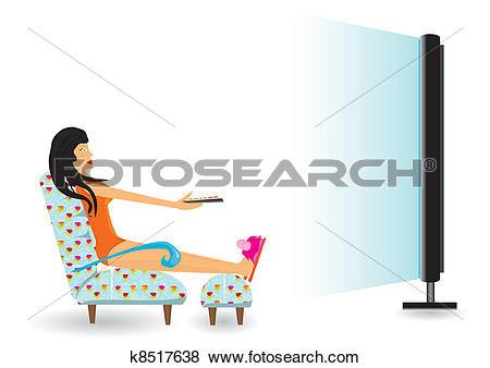 Clip Art of girl watching tv after work. k8517638.