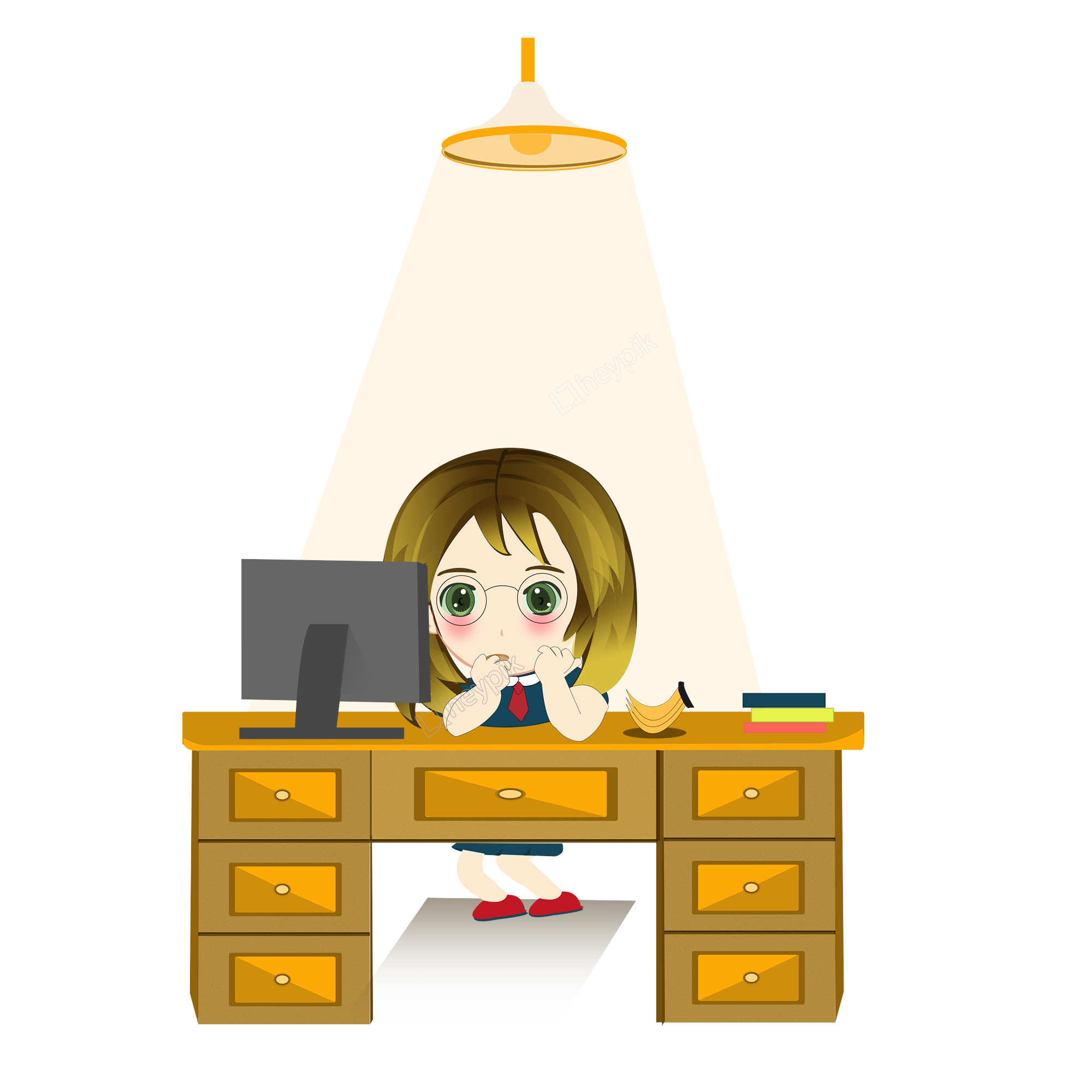 Download Free png Cartoon version girl watching TV late.