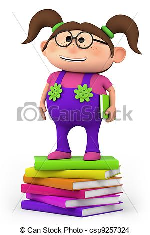 Clipart of girl on her way to school.