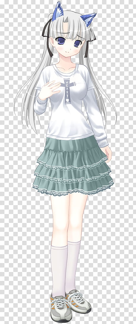Girl wearing white and skirt anime transparent background.