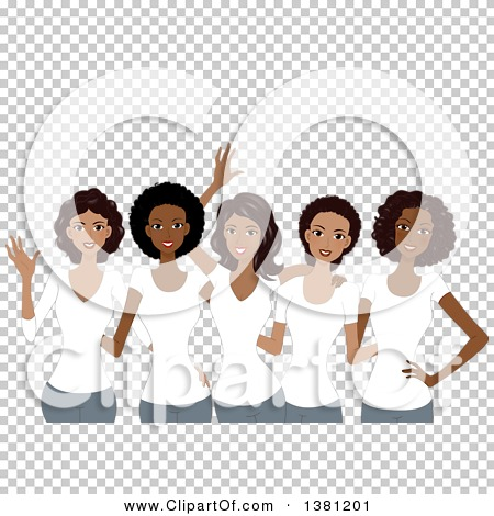 Clipart of a Group of Happy Black Women Wearing Matching White T.