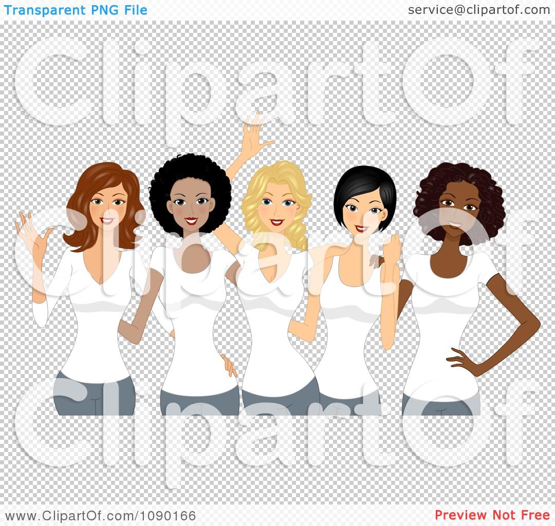 Clipart diverse ladies wearing white t shirts on International.