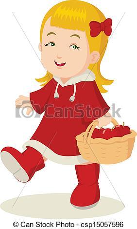 Stock Illustration of Girl Eating Apple.