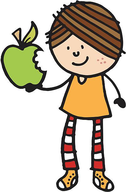 Kid Girl Eating Apple Clip Art, Vector Images & Illustrations.