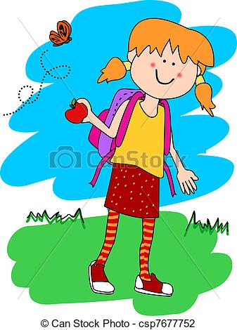 Vector Illustration of Little girl with backpack and apple.