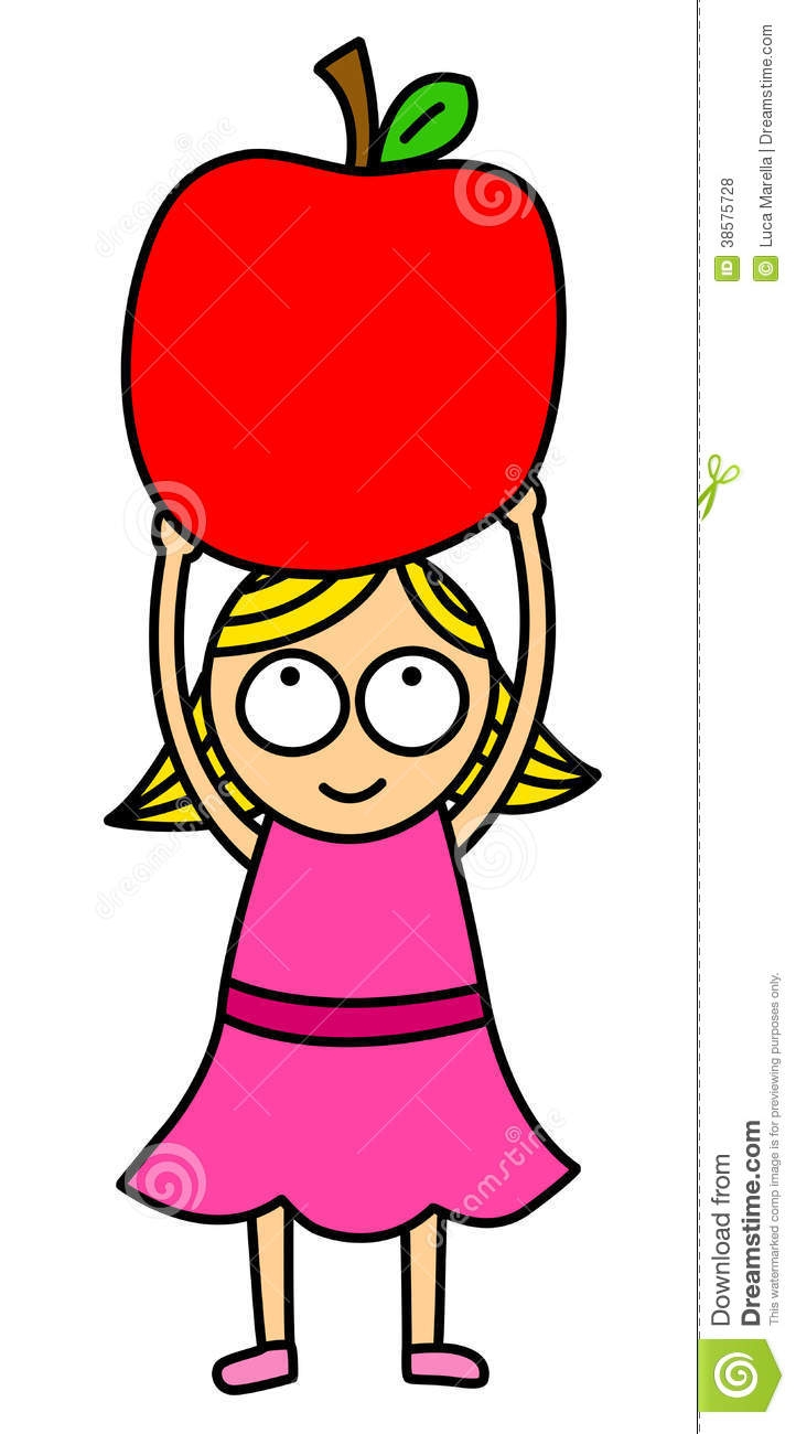 Girl With Apple Clipart.