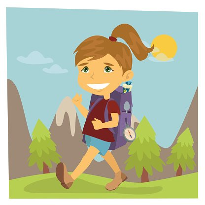 Girl Scout. Girl in Hike. Girl with Backpack. Vector.