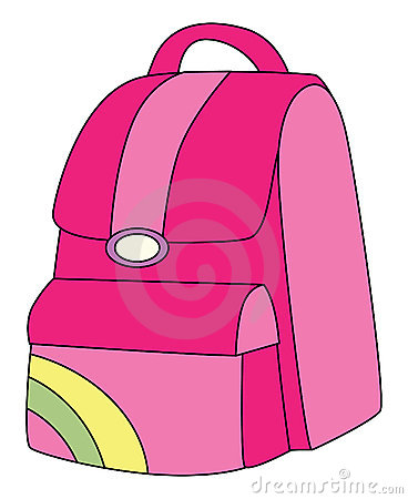 Girl With Backpack Clipart Pink.