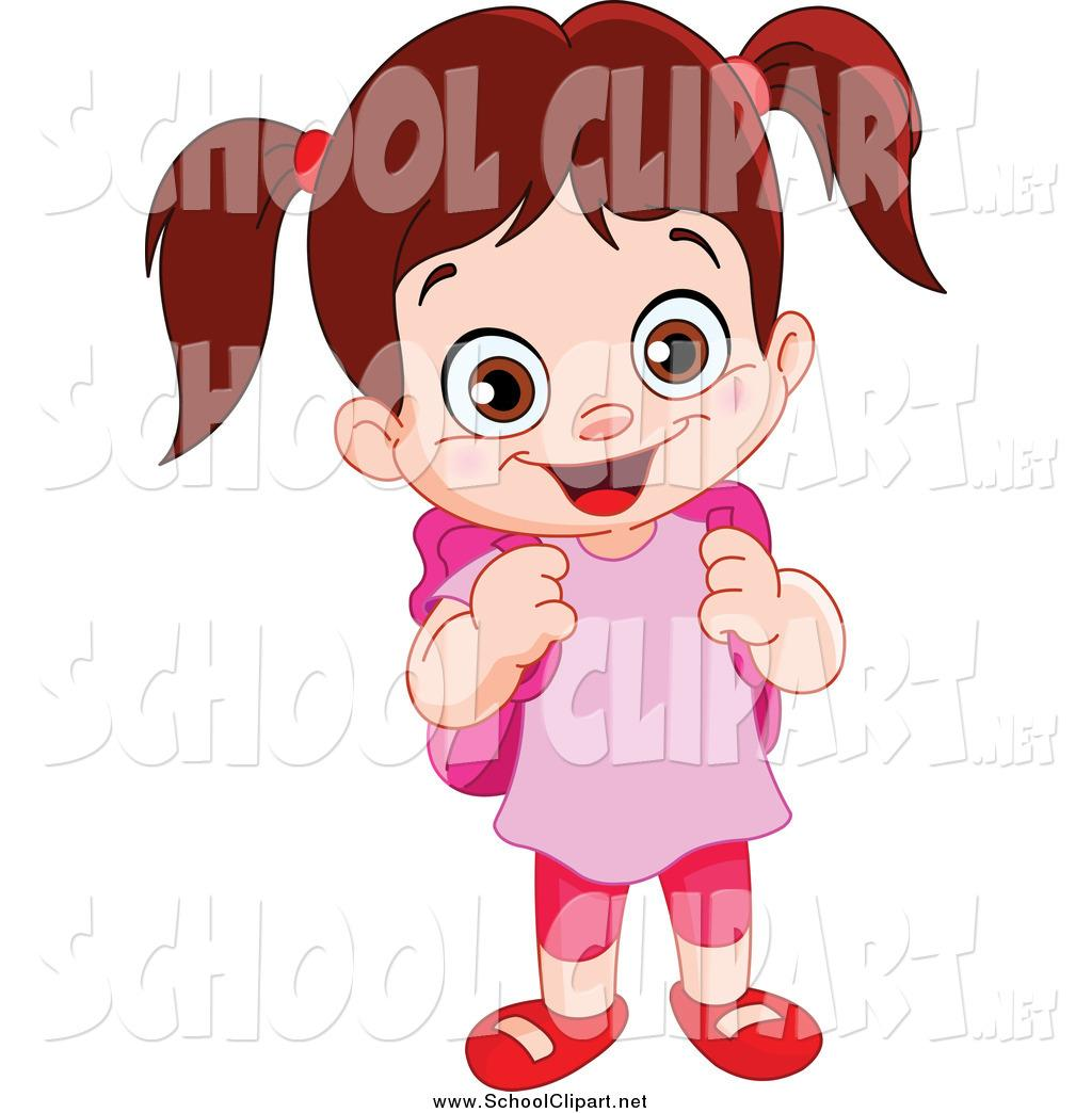 Cute School Girl Clipart (83+).