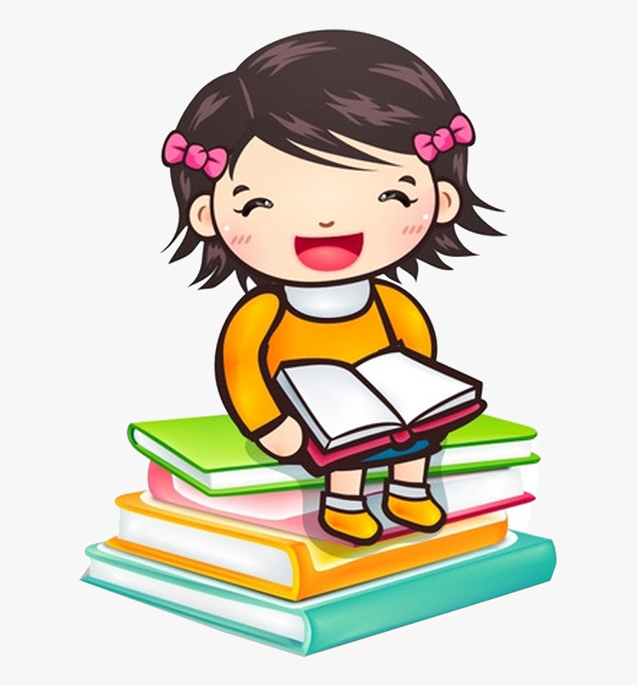 Reading Child Girl Book Clip Art.