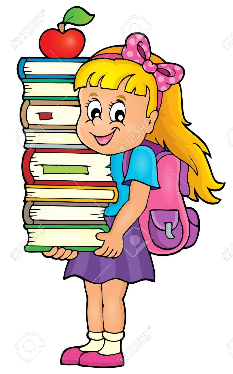 Girl holding books theme image.