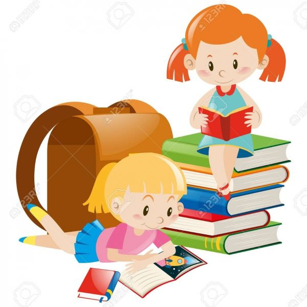 Two Girls Reading Text Books Illustration Royalty Free Cliparts.