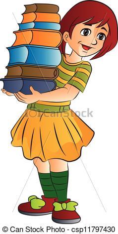 Girl Carrying Books, illustration.