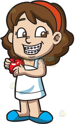kids with braces Cartoon Clipart.