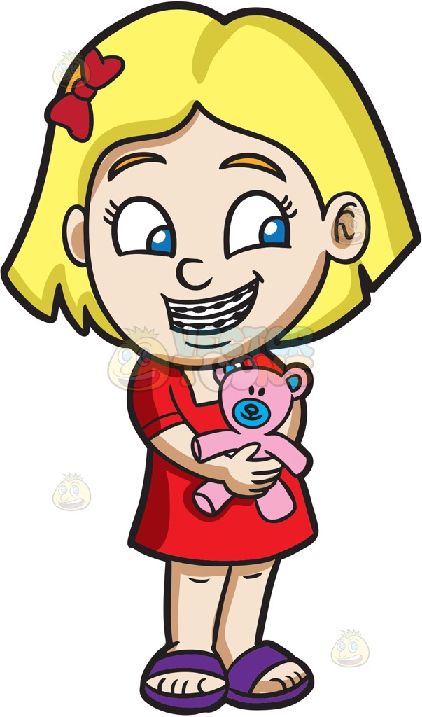A Girl With Braces Hugging Her Teddy Cartoon Clipart.