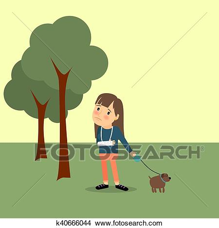Girl with broken arm and dog Clipart.