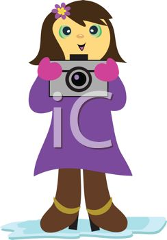 Girl with Camera Clip Art.