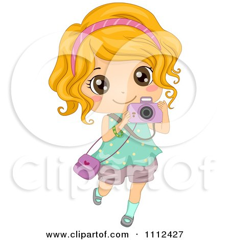 Clipart Cute Happy Blond Girl Taking Pictures With A Camera.