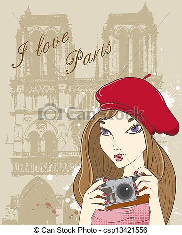 Clipart Vector of Girl with camera in Paris.