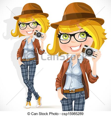 Vector Clip Art of Girl with a camera.