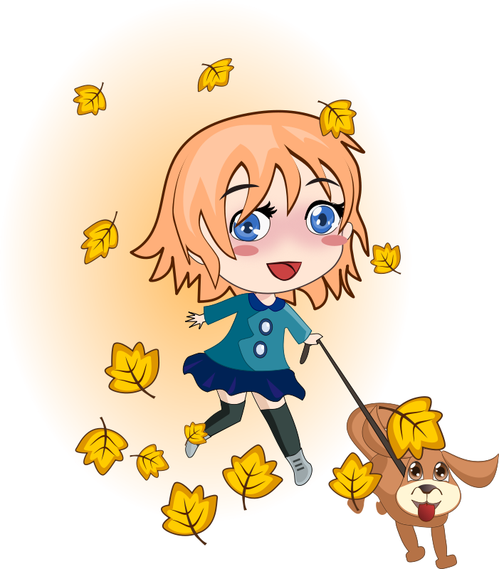 Free Clipart: Girl and dog running.