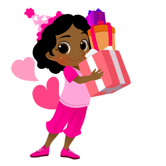 Girl With Gift And Glitter Clipart.