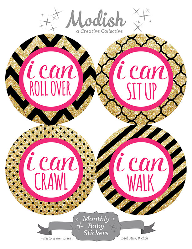 FREE GIFT, Baby Month Stickers, Baby Girl, Pink, Black, Gold.