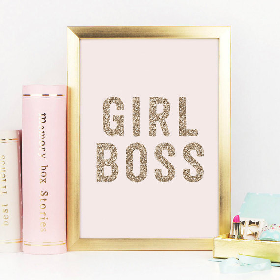Girl Boss Gold Decor Gold Glitter Girl Boss Print Boss.