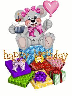 Teddy Bear with Gifts: Happy Birthday.