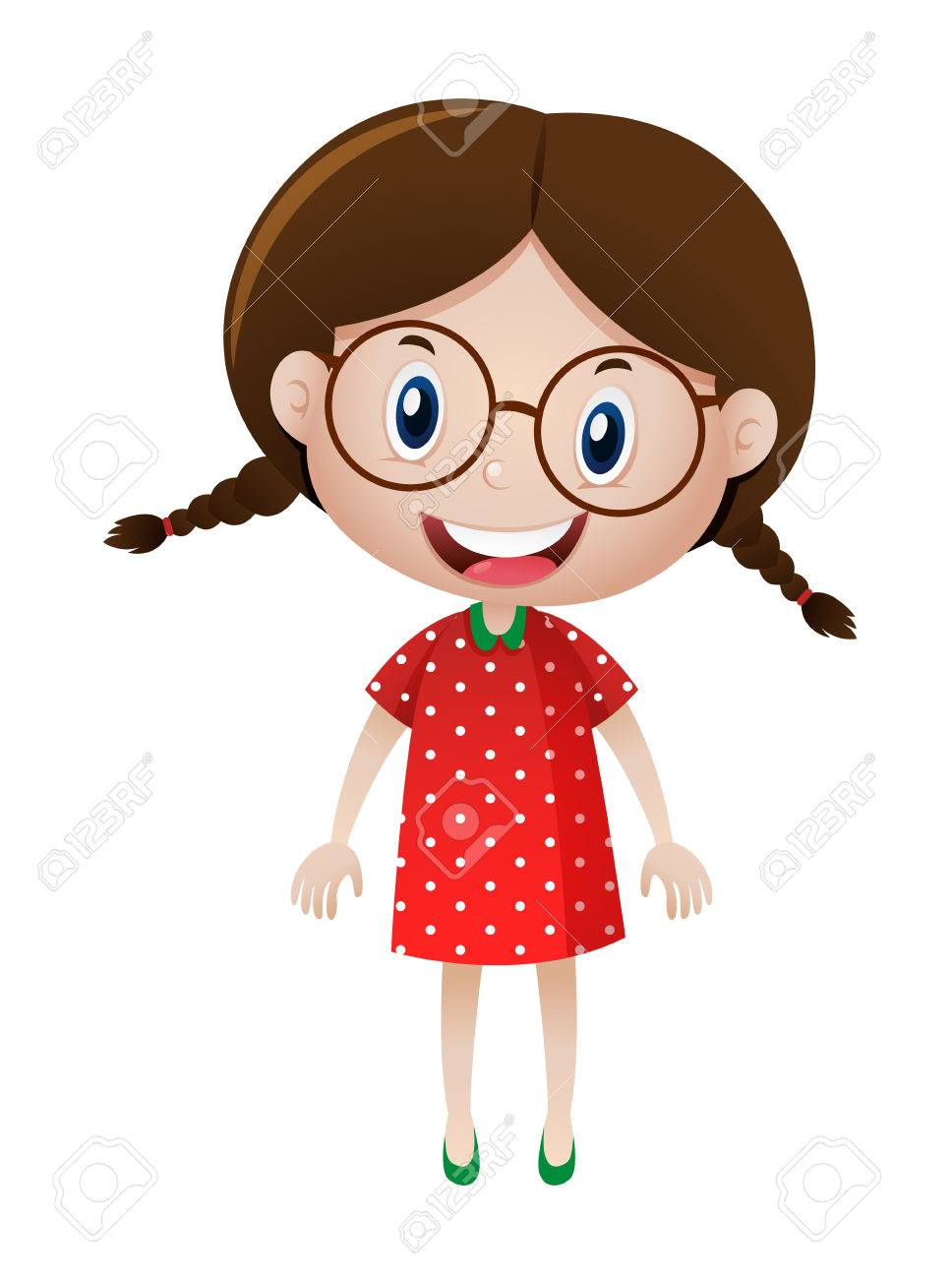 Little girl wearing glasses illustration.