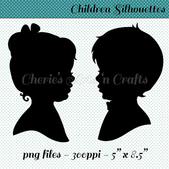 Children's Silhouettes, Girl With Bow Silhouette, Boy With Bow Tie.