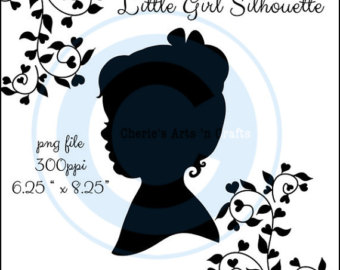 Silhouettes Little Girl With Hair Bow and Bun Silhouette.