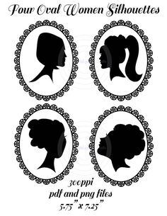 Silhouettes, Little Girl With Hair Bow and Bun Silhouette, Little.