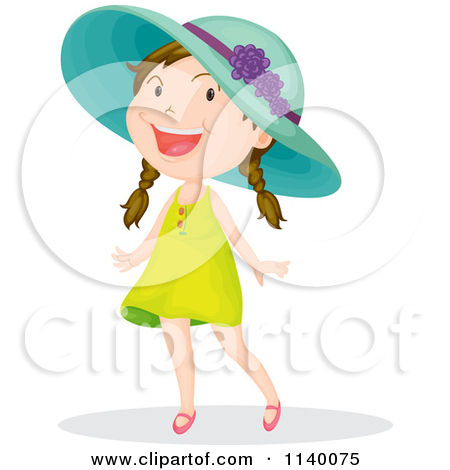 Happy Girl In A Green Dress And Hat Posters, Art Prints by.