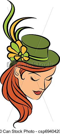 Vector Clipart of Vintage fashion girl in hat. csp6940420.