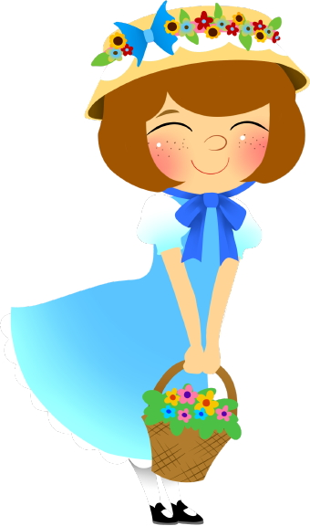 Girl wearing hat clipart.
