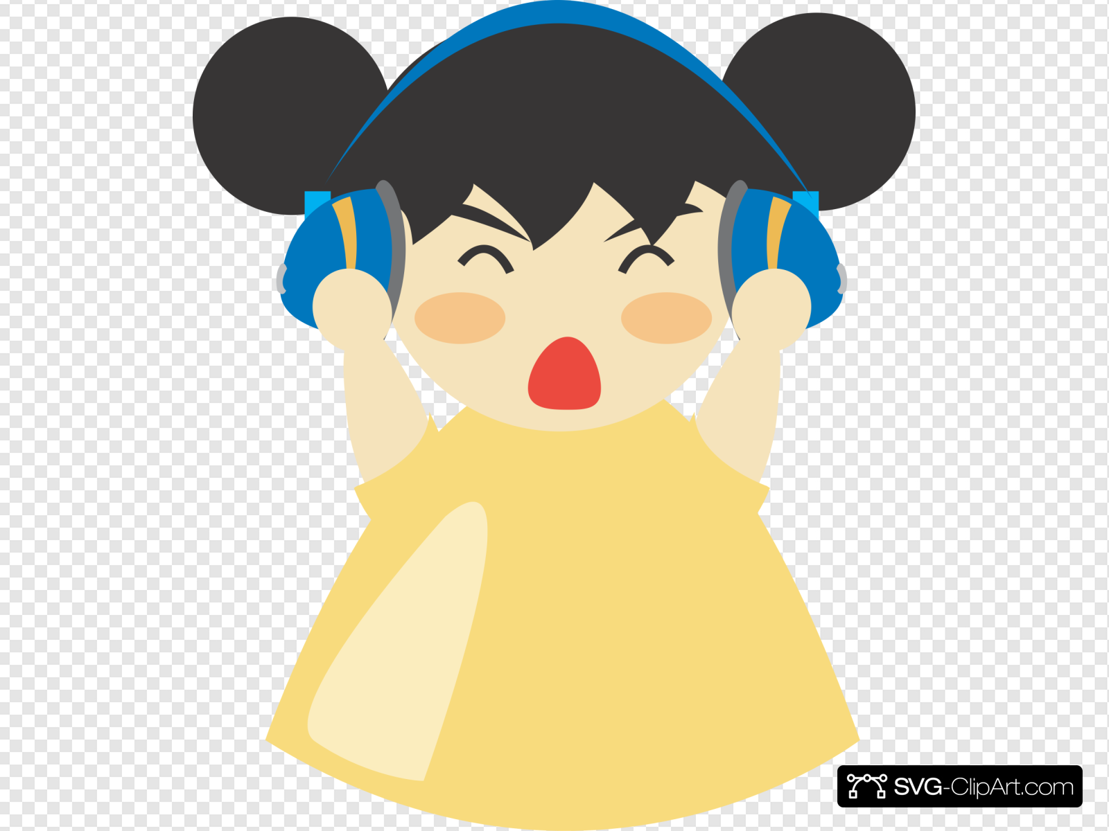 Girl With Headphones Clip art, Icon and SVG.