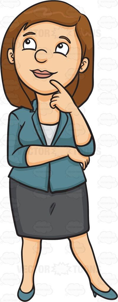 A woman thinking of a bright idea #cartoon #clipart #vector.