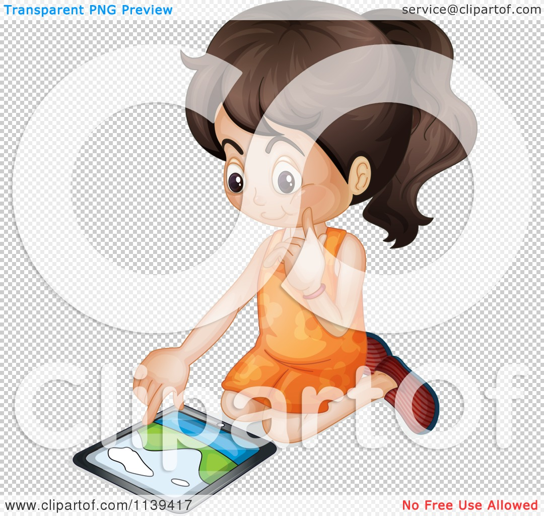 Girl With Ipad Clipart.