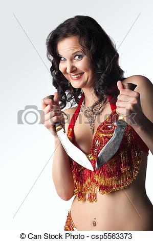 Stock Photos of Insane woman with knife smile.