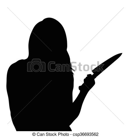Clip Art Vector of girl silhouette with knife illustration in.
