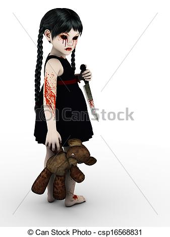 Drawings of A gothic blood covered small girl with knife..