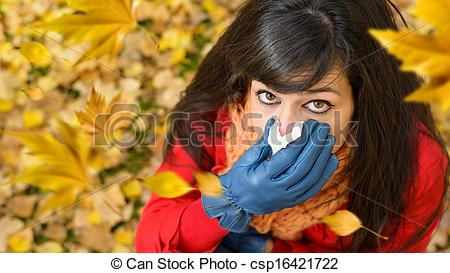 Stock Photo of Windy autumn cold and flu.