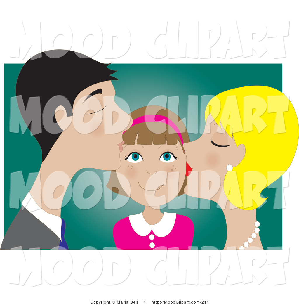 A Girl With Her Family Clipart.