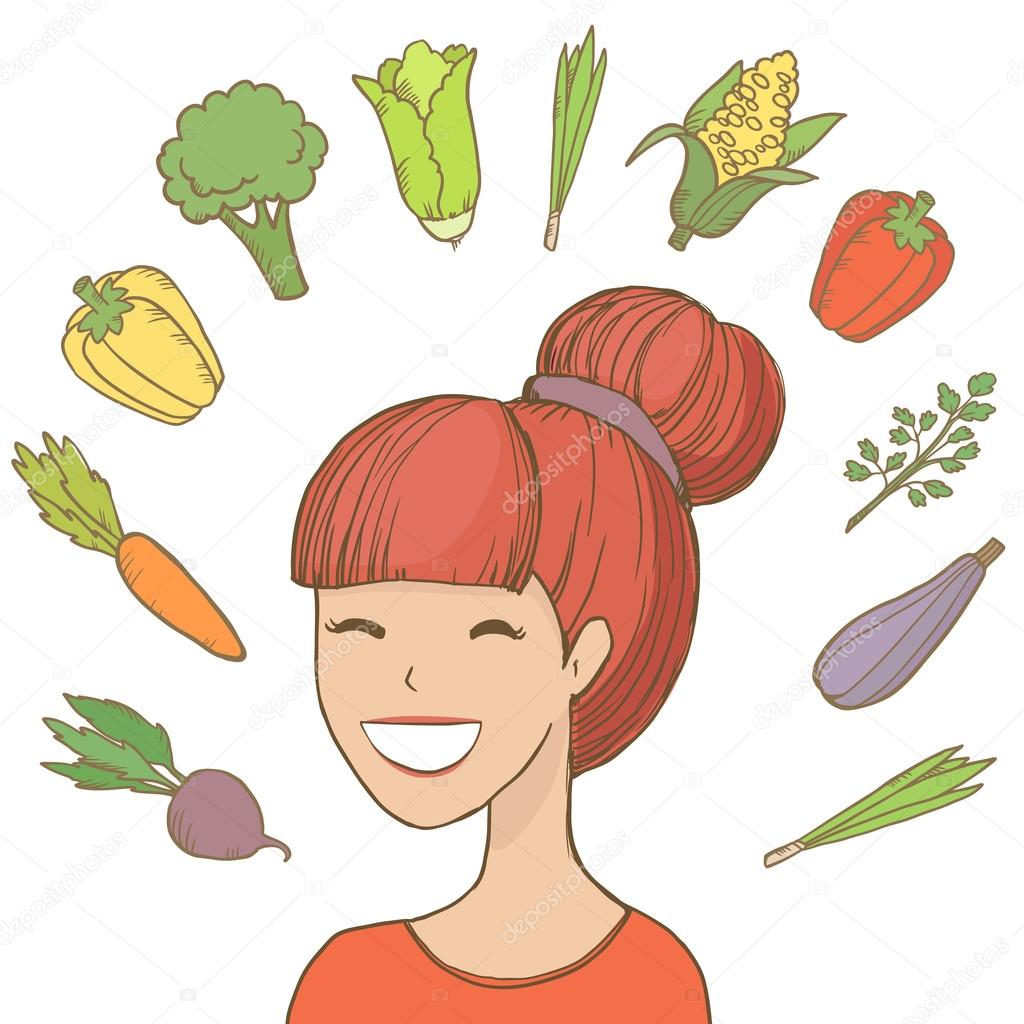 Young smiling woman with vegetables and fruits flying around her.