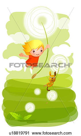 Clipart of Girl and her dog flying in the air holding flowers.
