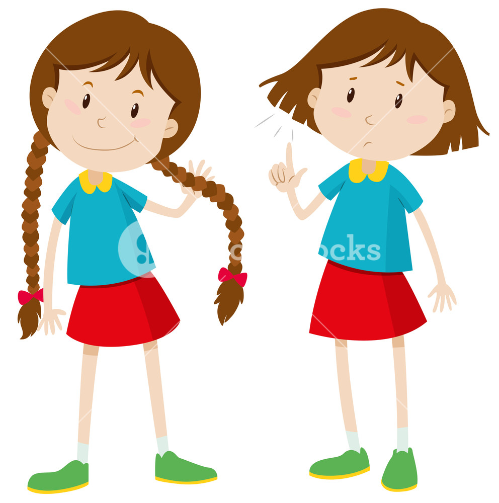 Little girl with long and short hair illustration Royalty.